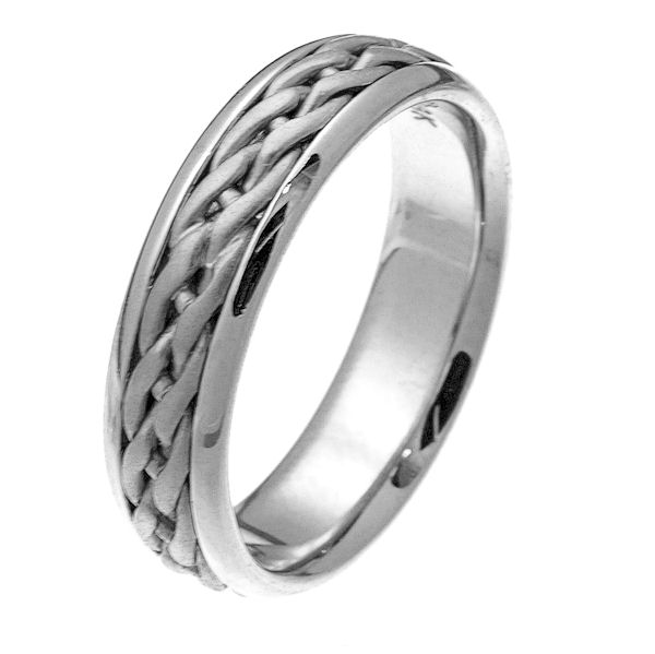 Item # 219291WE - 18 kt white gold hand crafted 6.0 mm wide comfort fit wedding band. The ring has a beautiful braid made from white gold in the center that has a sandblast finish and the edges are polished. It is 6.0 mm wide and comfort fit. Different finishes may be selected or specified.