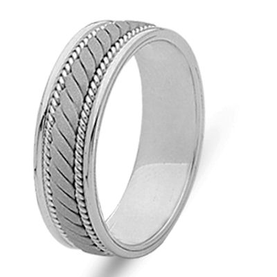 Item # 21996W - Hand crafted 14 kt white gold 6.0 mm wide, comfort fit wedding band. The ring has a sandblast finish in the center and the rest is polished. Different finishes may be selected or specified.