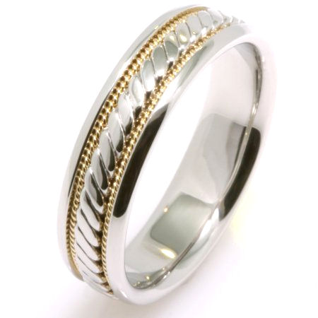 Item # 221629E - 18K two tone , white and yellow gold, 6.0 mm wide comfort fit, hand crafted wedding band. The brushed center is a hand made design with one hand crafted rope on each side of the design with the rest of the band polished. Different finishes may be selected or specified.