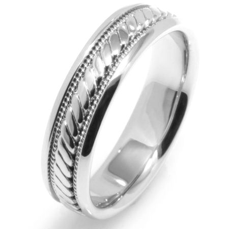 Item # 221629WE - 18K white gold, 6.0 mm wide comfort fit, hand crafted wedding band. The brushed center is a hand made design with one hand crafted rope on each side of the design with the rest of the band polished. Different finishes may be selected or specified.