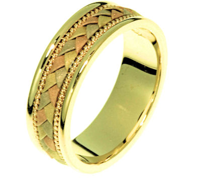 Item # 22206E - 18 Kt tri-color gold hand crafted ring. The braid is made up of 18 kt yellow, rose, and white gold and has a sandblasted finish. The ring is 6.0 mm wide and comfort fit. The finish on the edges are polished. Different finishes may be selected or specified.