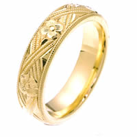 Item # 2228971E - 18 Kt Yellow Gold Hand Carved Wedding Band
