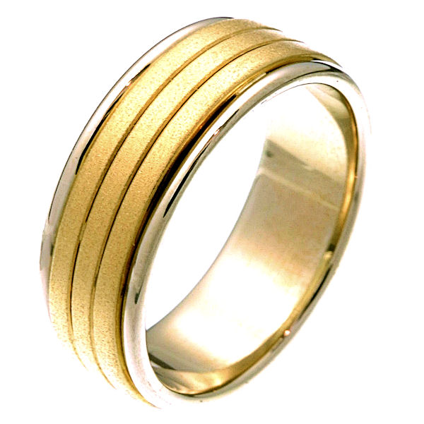 Item # 22481 - 14 kt two-tone gold comfort fit 8.0 mm wide wedding band. The ring's yellow gold portion has a sandblasted finish and the white gold is polished. It is 8.0 mm wide and comfort fit. Different finishes may be selected or specified.