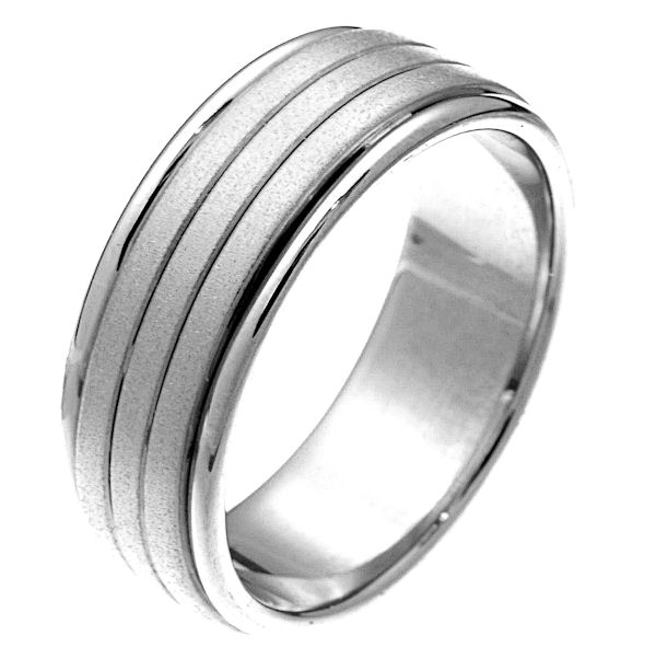 Item # 22481WE - 18 kt white gold comfort fit 8.0 mm wide wedding band. The center portion has a sandblasted finish and the sides are polished. It is 8.0 mm wide and comfort fit. Different finishes may be selected or specified.