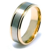 Item # 22701E - 18K Hand Crafted Two-Tone Comfort Fit Wedding Band