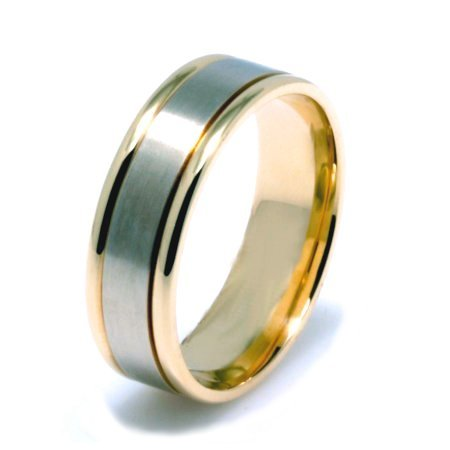 Item # 22701PE - Platinum and 18 K yellow gold, Hand Crafted , 6.0 mm wide, comfort fit wedding band. The finish in the center is brushed and the outer edges are polished. Different finishes may be selected or specified.