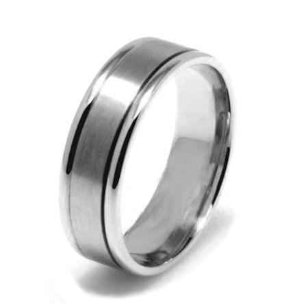 Item # 22701W - 14K white gold, Hand Crafted , 6.0 mm wide, comfort fit wedding band. The finish in the center is brushed and the outer edges are polished. Different finishes may be selected or specified.