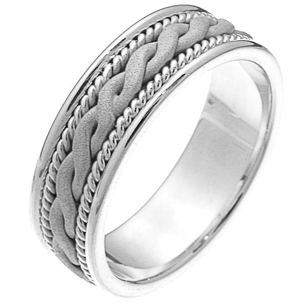 Item # 230661WE - 18 kt white gold hand braided comfort fit 7.0 mm wide wedding band. The ring has a white gold braid that has a sandblasted finish and one rope on each side of the braid. It is 7.0 mm wide and comfort fit. Different finishes may be selected or specified.