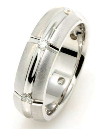 Item # 234833W - 14K white gold, 6.7 mm wide, comfort fit wedding band. The wedding band holds 6 round brilliant cut diamonds with total weight of 0.40ct. The diamonds are graded as VS in clarity G-H in color. The grooves on the ring are polished and the rest of the ring is matte. Different finishes may be selected or specified.