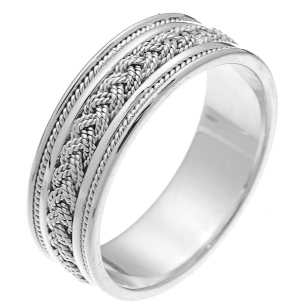 Item # 242461W - 14 kt white gold hand braided comfort fit 7.0 mm wide wedding band. The ring has two 14kt white gold ropes braided in the center and one white gold rope on each side of the braid. It is 7.0 mm wide and comfort fit. The finish is polished. Different finishes may be selected or specified.