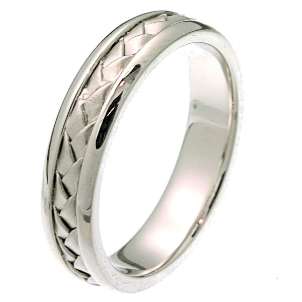 Item # 24511PP - Platinum hand braided 5.0 mm wide comfort fit wedding band. The ring is braided in the center with a matte finish and the edges are polished. It is 5.0 mm wide and comfort fit. Different finishes may be selected or specified.