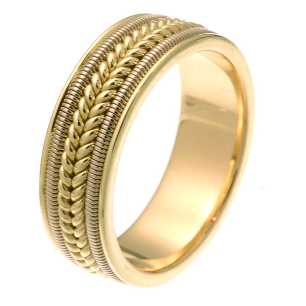 Item # 247361 - 14 kt two-tone hand crafted 7.0 mm wide comfort fit wedding band. The ring two rope braids in the center with one coil on each side of the braid. It is all polished, 7.0 mm wide and comfort fit. Different finishes may be selected or specified.