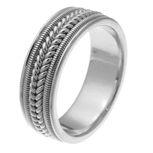 Item # 247361W - 14 kt white gold hand crafted 7.0 mm wide comfort fit wedding band. The ring two rope braids in the center with one coil on each side of the braid. It is all polished, 7.0 mm wide and comfort fit. Different finishes may be selected or specified.