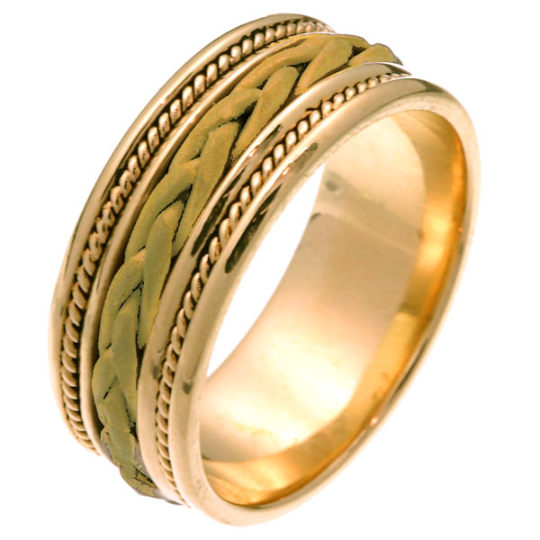Item # 250181 - 14 kt yellow gold hand braided 8.5 mm wide comfort fit wedding band. The ring has a sandblasted finish braid in the center with one rope on each side of the braid. The rest of the band is polished finish. It is 8.5 mm wide and comfort fit. Different finishes may be selected or specified.