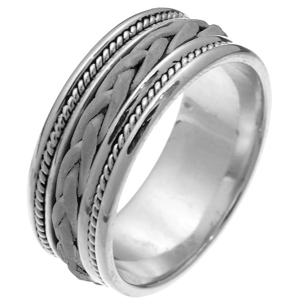 Item # 250181WE - 18 kt white gold hand braided 8.5 mm wide comfort fit wedding band. The ring has a sandblasted finish braid in the center with one rope on each side of the braid. The rest of the band is polished finish. It is 8.5 mm wide and comfort fit. Different finishes may be selected or specified.