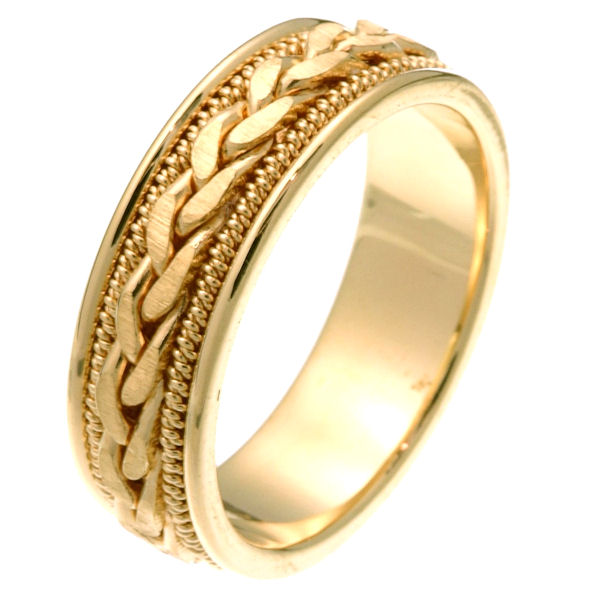Item # 250261 - 14 kt yellow gold hand crafted 6.0 mm wide comfort fit wedding band. The ring has a braid in the center with matte finish and one rope on each side of the braid that are polished finish. It is 6.0 mm wide and comfort fit. Different finishes may be selected or specified.