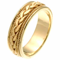 Item # 250261E - 18 Kt Yellow Gold Hand Crafted Wedding Ring
