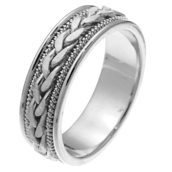 Item # 250261WE - 18 kt white goldhand crafted 6.0 mm wide comfort fit wedding band. The ring has a braid in the center with matte finish and one rope on each side of the braid that are polished finish. It is 6.0 mm wide and comfort fit. Different finishes may be selected or specified.