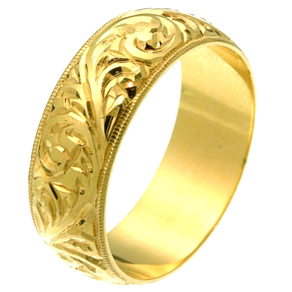 18 Kt Gold Hand Carved Wedding Ring