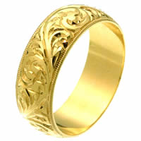 Item # 2516578E - 18 Kt Gold Hand Carved Wedding Ring