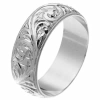 Item # 2516578PP - Platinum Hand Carved Wedding Ring