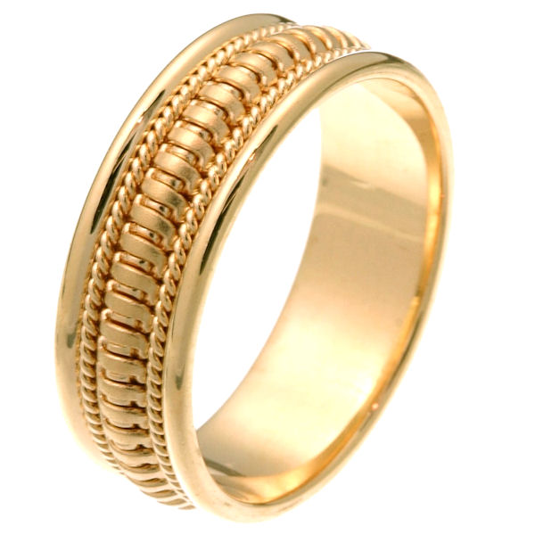 Item # 257261 - 14 kt yellow gold hand crafted 7.5 mm comfort fit wedding ring. The ring has beautiful crafted gold waves in the center of the band that is matte finish and one rope on each side with a polished finish. It is 7.5 mm wide and comfort fit. Different finishes may be selected or specified.
