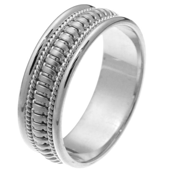 Item # 257261WE - 18 kt white gold hand crafted 7.5 mm comfort fit wedding ring. The ring has beautiful crafted white gold waves in the center of the band that is matte finish and one rope on each side with a polished finish. It is 7.5 mm wide and comfort fit. Different finishes may be selected or specified.