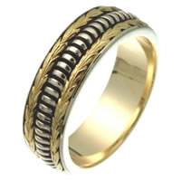 Item # 25837E - 18K, Hand Crafted Wedding Ring