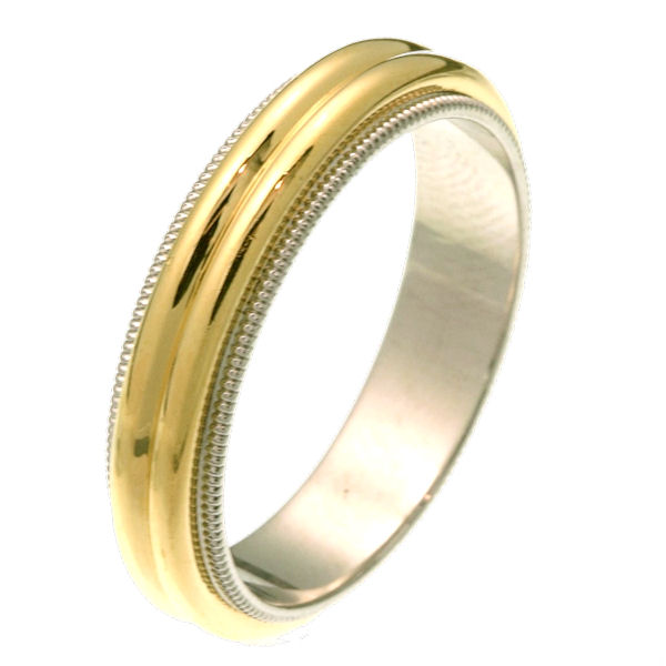 Item # 26871 - 14 kt two-tone gold 5.0 mm wide comfort fit wedding ring. The band has two domes in the center and milgrain edges. It is all polished and 5.0 mm wide. Different finishes may be selected or specified.