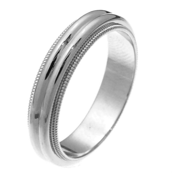 Item # 26871PP - Platinum 5.0 mm wide comfort fit wedding ring. The band has two domes in the center and milgrain edges. It is all polished and 5.0 mm wide. Different finishes may be selected or specified.