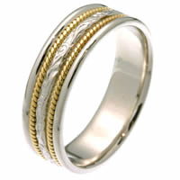 Item # 27541PE - Platinum & 18 Kt Gold Carved Wedding Ring
