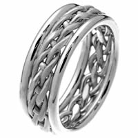 14 Kt White Gold Braided Wedding Ring