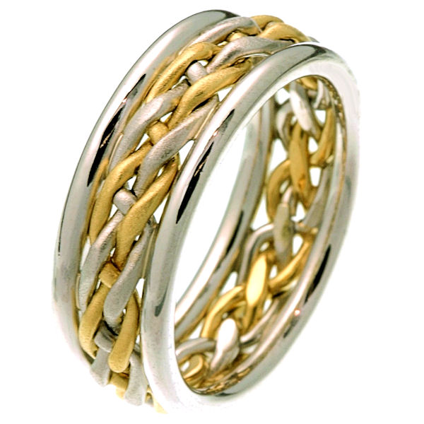 Item # 28781E - 18 kt two-tone gold hand braided comfort fit 8.0 mm wedding band. The white and yellow gold are beautifully braided in the center with a sandblasted finish. It is 8.0 mm wide and comfort fit. The outer edges are polished. Different finishes may be selected or specified.