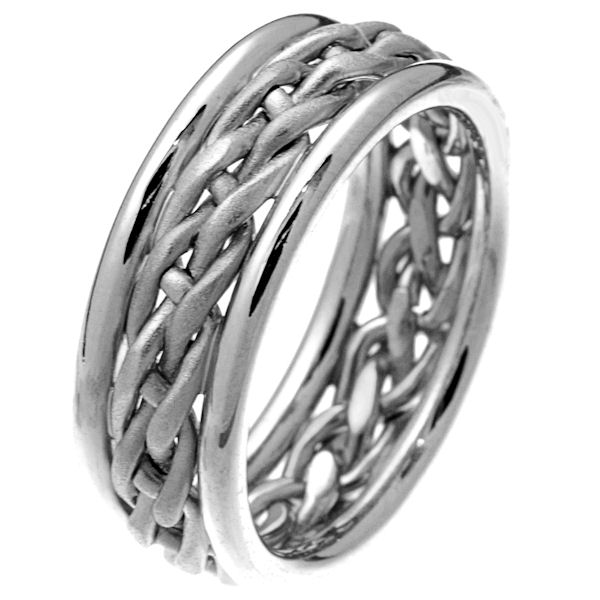 Item # 28781PP - Platinum hand braided comfort fit 8.0 mm wedding band. The white gold are beautifully braided in the center with a sandblasted finish. It is 8.0 mm wide and comfort fit. The outer edges are polished. Different finishes may be selected or specified.