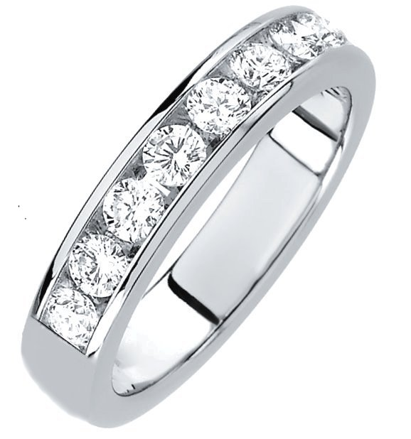 Item # 3001011PP - Platinum, diamond band. The 4.0 mm wide band set in channel holds 9 diamonds with total weight of approximately 1.0 ct. The diamonds are graded as VS in clarity G-H in color. The finish is polished. Different finishes may be selected or specified.
