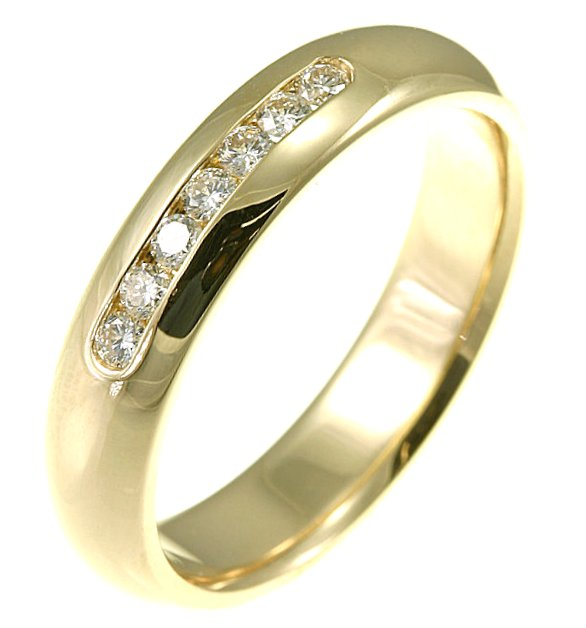 Item # 30104E - 18kt yellow gold, 5.0 mm wide, comfort fit diamond wedding band. Diamonds total weight is 0.25 ct and are graded as VS in clarity G-H in color. The finish is polished. Different finishes may be selected or specified.