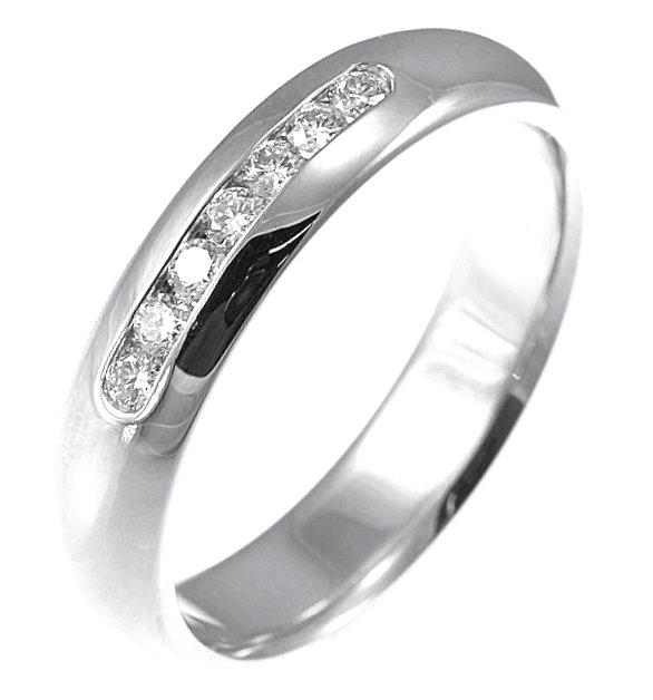 Item # 30104W - 14kt white gold, 5.0 mm wide, 0.25 ct TW diamond wedding band. Diamonds are graded as VS in clarity G-H in color.The finish is polished. Different finishes may be selected or specified.