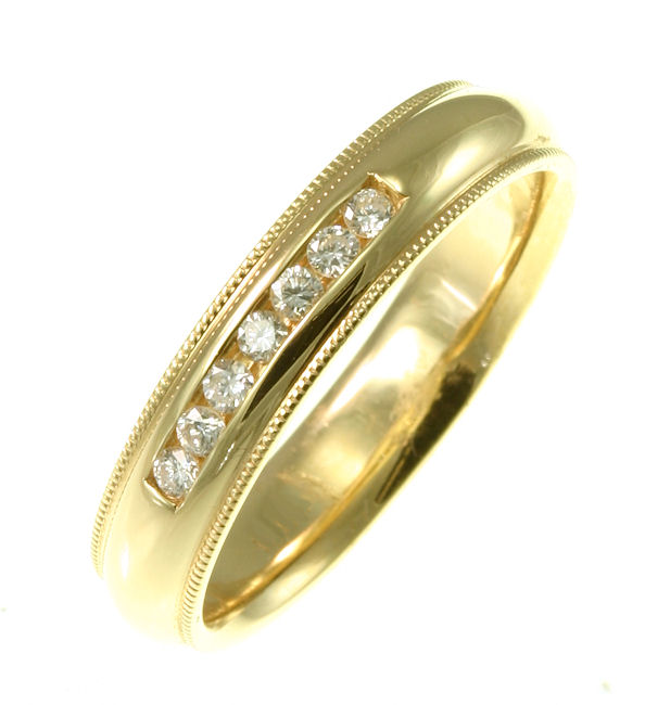 Item # 30204 - 0.25 ct tw diamonds, VS1-2/G-H, 5.0 mm wide, milgrain edge, comfort fit wedding band. The finish is polished. Different finishes may be selected or specified.