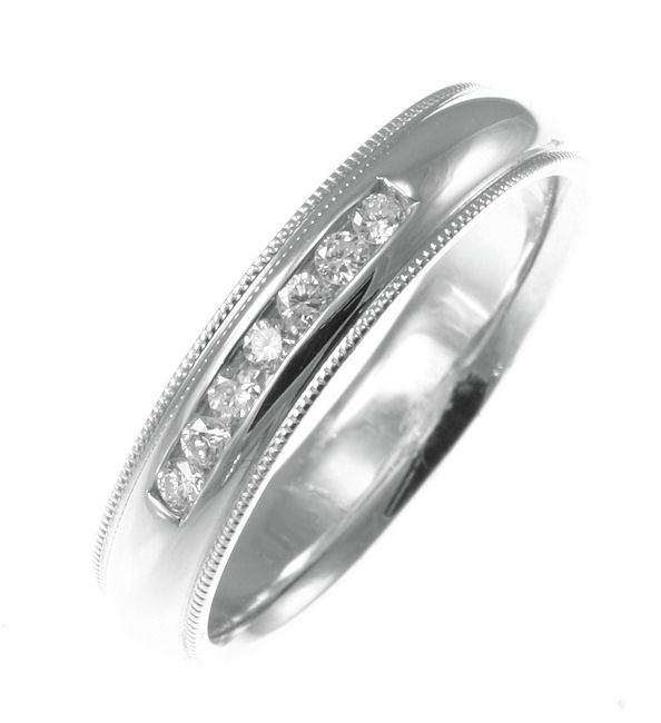 Item # 30204WE - 18kt white gold, 0.25 ct tw, comfort fit, diamond wedding band. Diamonds are VS in clarity G-H in color. The finish is polished. Different finishes may be selected or specified.