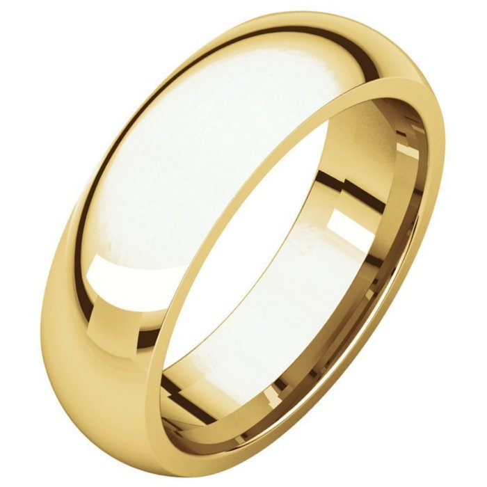 Yellow Gold Plain 7mm Wide Comfort Fit Wedding Band
