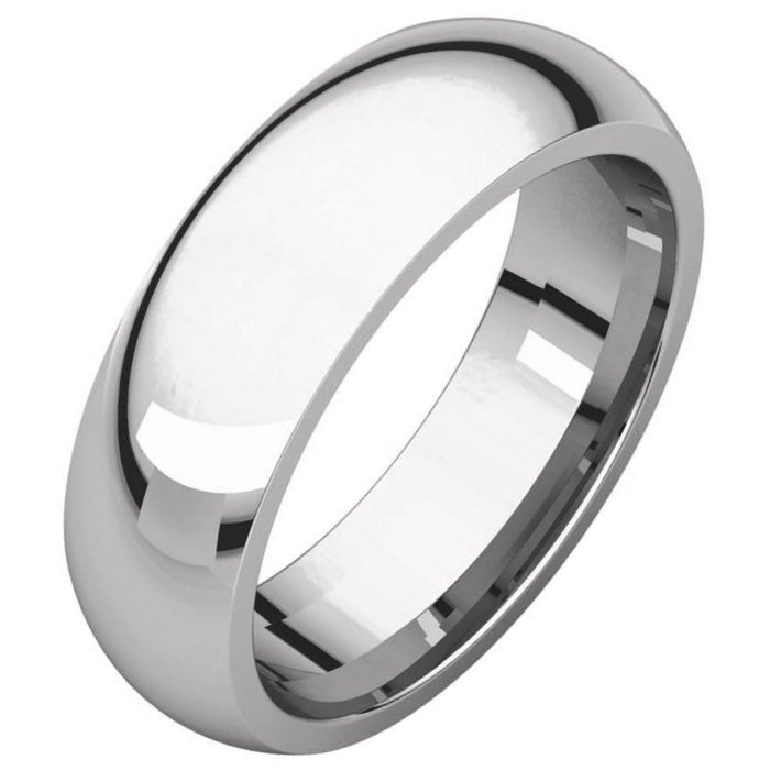 White Gold Plain 7mm Wide Comfort Fit Wedding Band
