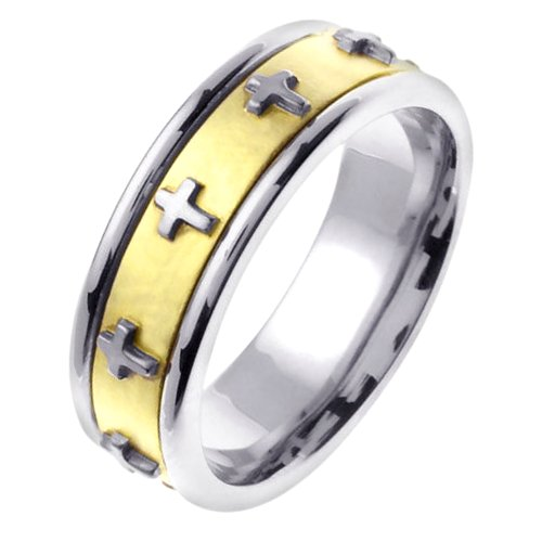 14K Two Tone Cross Wedding Band