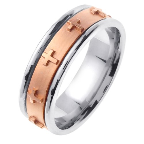 Item # 46105E - 18K two-tone gold,  7.0 mm wide, comfort fit wedding band. The band has crosses all the way around the center spinning band. The center of the ring is a coarse sandblast finish and the outer edges are polished. Different finishes may be selected or specified.