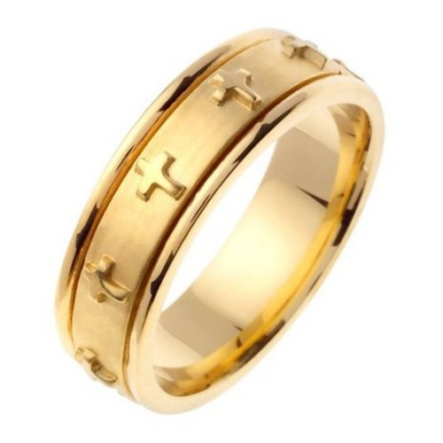 Item # 46107E - 18K yellow  gold,  7.0 mm wide, comfort fit wedding band. The band has crosses all the way around the center spinning band. The center of the ring is a coarse sandblast finish and the outer edges are polished. Different finishes may be selected or specified.