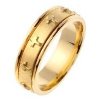 Item # 46107 - Gold Cross Wedding Band