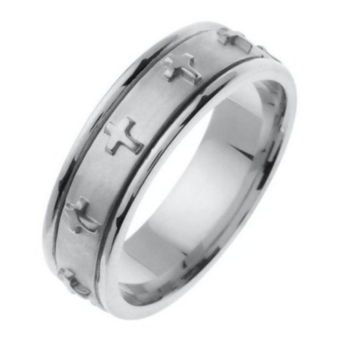 Item # 46107W - 14 Kt white  gold,  7.0 mm wide, comfort fit wedding band. The band has crosses all the way around the center spinning band. The center of the ring is a coarse sandblast finish and the outer edges are polished. Different finishes may be selected or specified.