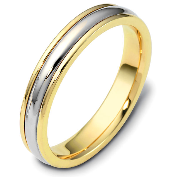 Item # 46799PE - Platinum and 18kt yellow gold classic, comfort fit, 4.0mm wide wedding band. The ring has a polished finish. Different finishes may be selected.