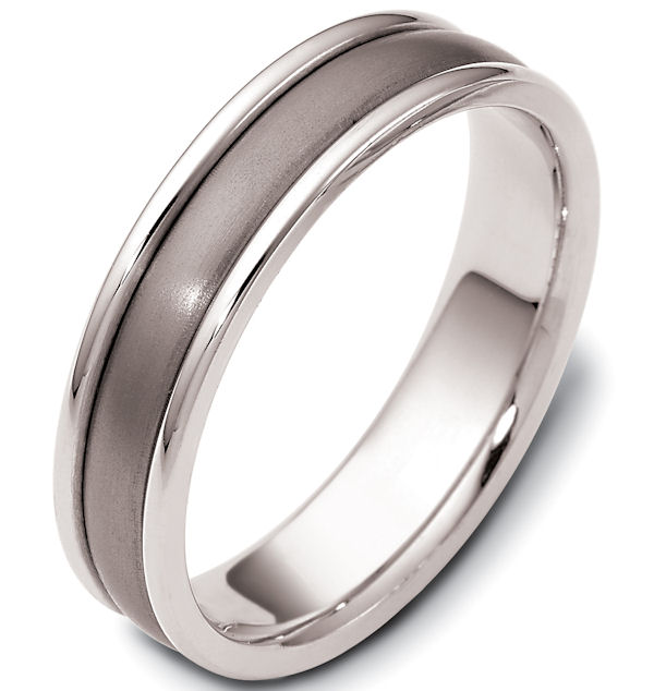 Item # 46799TE - Titanium and 18kt white gold classic, comfort fit, 4.0mm wide wedding band. The ring has a polished finish. Different finishes may be selected.