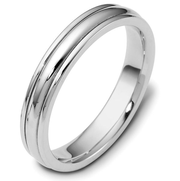 Item # 46799W - 14kt White gold classic, comfort fit, 4.0mm wide wedding band. The ring has a polished finish. Different finishes may be selected.