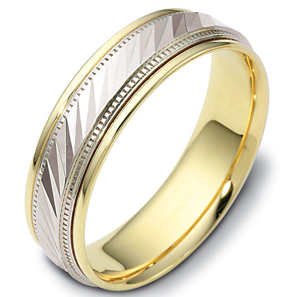 Item # 46836E - 18kt two-tone gold classic, comfort fit, 6.0mm wide wedding band. The ring has a high polish finish. Different finishes may be selected.